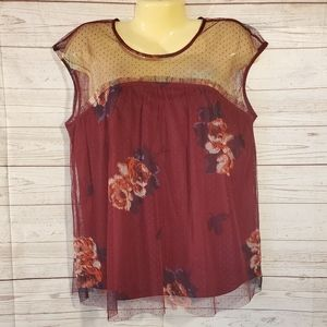 Maurices Burgundy Floral Blouse